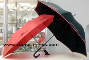серия зонтов от компании Цептер: красный складной автомат, черный трость