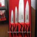 наборы ножей с красно-черными ручками от компании Цептер в Минске