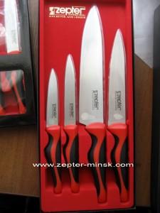 набор ножей цептер (из четырех ножей с красными ручками)