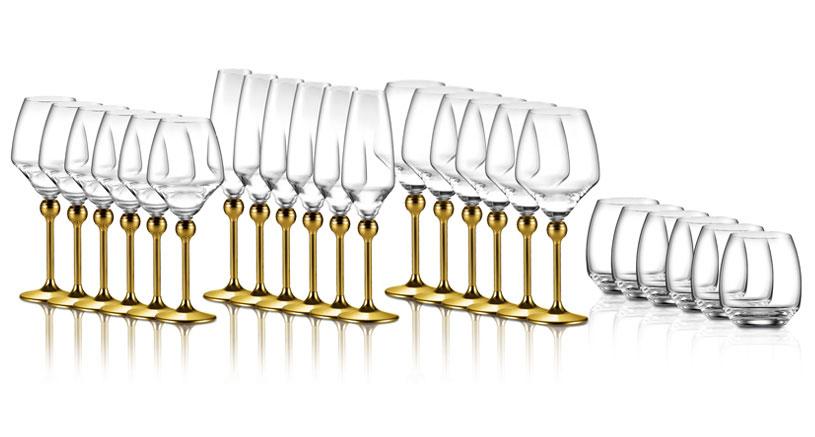 Полный набор Мэджик Хармони на 24 бокала с ножками, декорированными золотом, цена 1935 евро по курсу нацбанка