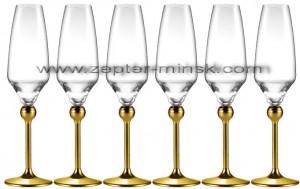 Бокалы для шампанского с металлическими ножками, декорированными золотом, Мэджик Хармони от Цептер  в Минске
